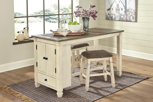 Bolanburg Two-tone 3 Pc. Rectangular Counter Table & 2 Upholstered Stools