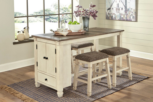 Bolanburg Two-tone 5 Pc. Rectangular Counter Table & 4 Upholstered Stools