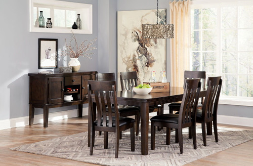 Haddigan Dark Brown 8 Pc. Rectangular  Extension Table, 6 Upholstered Side Chairs & Server