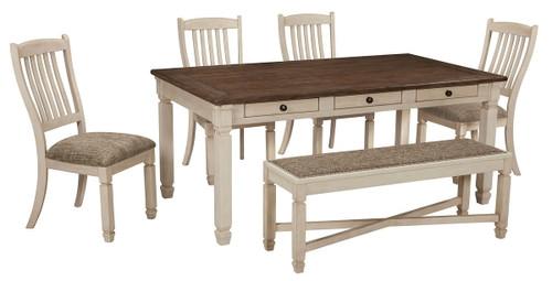 Bolanburg Antique White 6 Pc. Rectangular Table, 4 Upholstered Side Chairs & Upholstered Bench