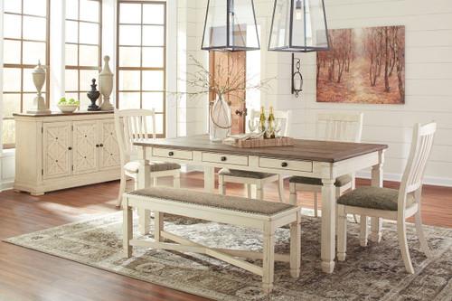 Bolanburg Antique White 7 Pc. Rectangular Table, 4 Upholstered Side Chairs, Upholstered Bench & Server