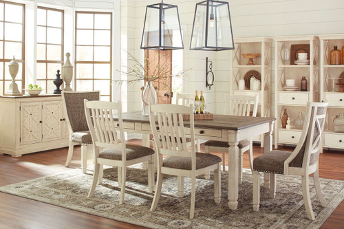 Bolanburg Antique White 7 Pc. Rectangular Table, 4 Side Chairs & 2 Upholstered Side Chairs