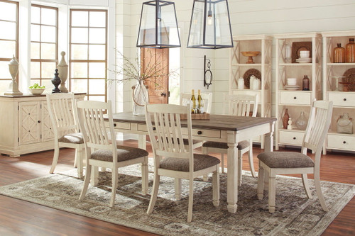 Bolanburg Antique White 11 Pc. Rectangular Table, 6 Upholstered Side Chairs, Server & 3 Display Cabinets