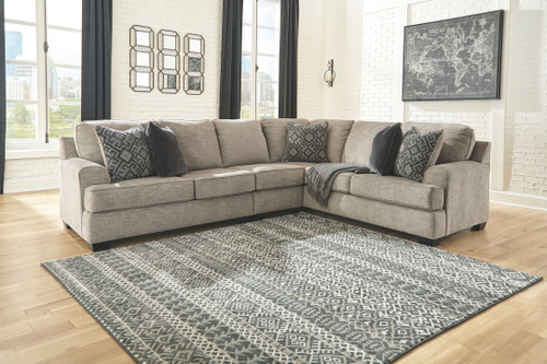 Bovarian Stone LAF Loveseat, Armless Chair & RAF Sofa with Corner Wedge Sectional
