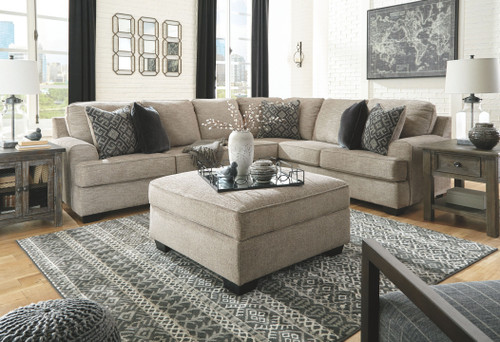 Bovarian Stone LAF Loveseat, Armless Chair, RAF Sofa with Corner Wedge Sectional & Ottoman