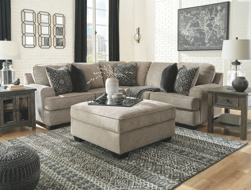 Bovarian Stone LAF Loveseat, RAF Sofa with Corner Wedge Sectional & Ottoman