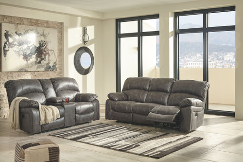 Dunwell Steel Power Reclining Sofa with ADJ HDRST & Power Reclining Loveseat with CON/ADJ HDRST