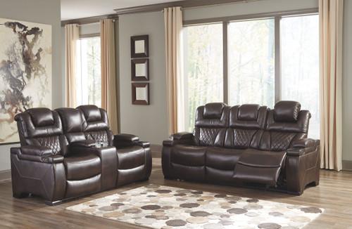 Warnerton Chocolate Power Reclining Sofa with ADJ HDRST & Power Reclining Loveseat with CON/ADJ HDRST