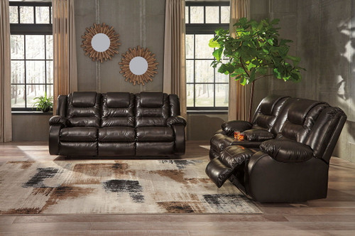 Vacherie Chocolate Reclining Sofa & Double Reclining Loveseat with Console