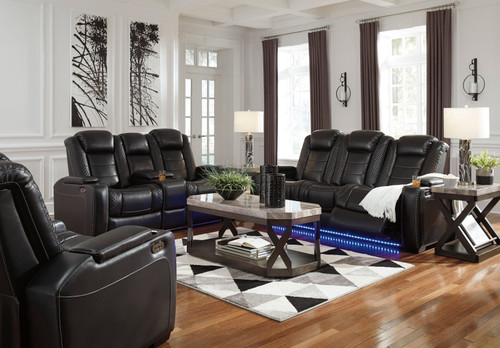 Party Time Midnight Power Reclining Sofa with ADJ HDRST, Power Reclining Loveseat/CON/ADJ HDRST & Power Recliner/ADJ HDRST