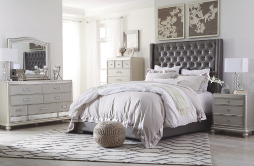 Coralayne Silver 5 Pc. Dresser, Mirror, King Upholstered Bed & Nightstand