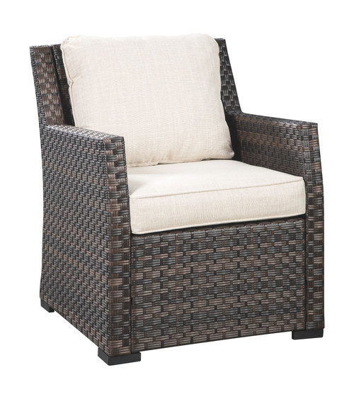 Easy Isle Dark Brown/Beige Lounge Chair w/Cushion (1/CN)