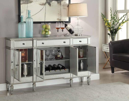 Transitional Mirror and Silver Wine Cabinet ( 102595 )