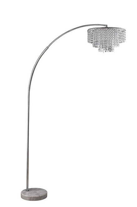 Tiered Floor Lamp With Marble Base Chrome And Crystal