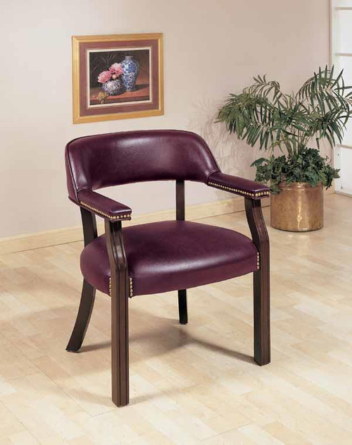 Burgundy Faux Leather Office Chair