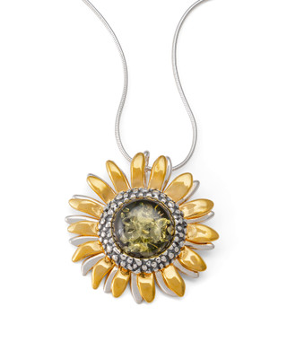 Green Amber Sunflower Pendant Necklace
