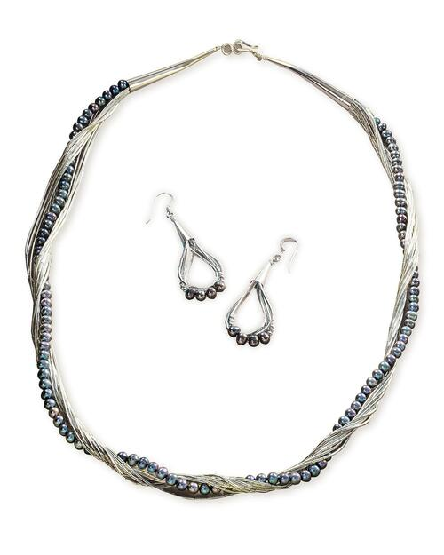 Liquid Silver and Freshwater Peacock Pearl Jewelry Set View Product Image