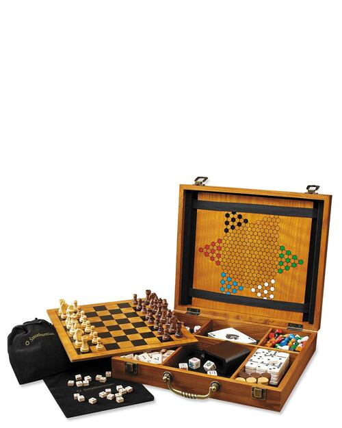 Castle Marquetry 8-Game Wooden Game Box View Product Image