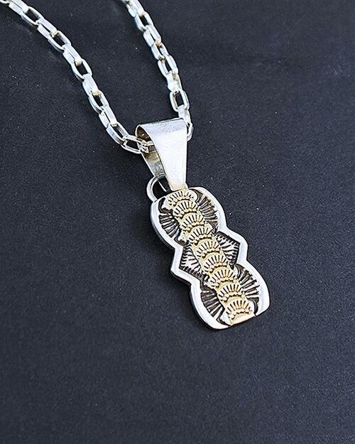 14K and Sterling Silver Pendant on Link Chain View Product Image