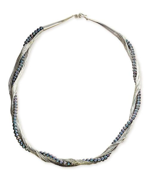 Liquid Silver and Peacock Pearl Necklace View Product Image