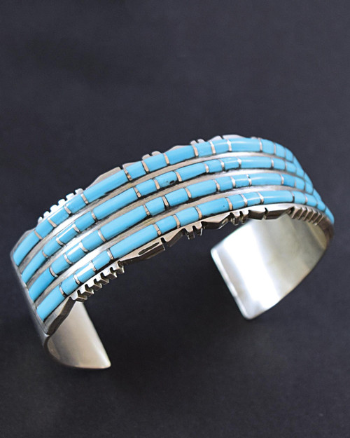 Zuni Channel-Set Turquoise and Silver Cuff Bracelet View Product Image