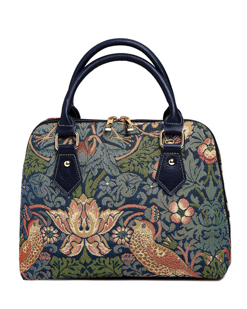 """""""Strawberry Thief"""" Tapestry Double-Zipper Handbag View Product Image"""