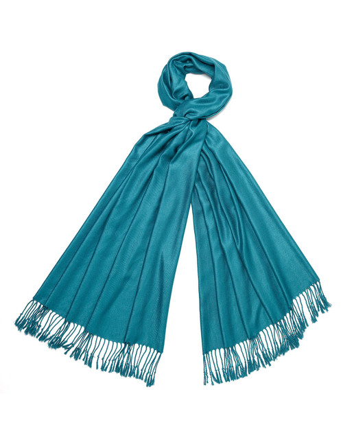 Teal Silk and Wool Shawl View Product Image