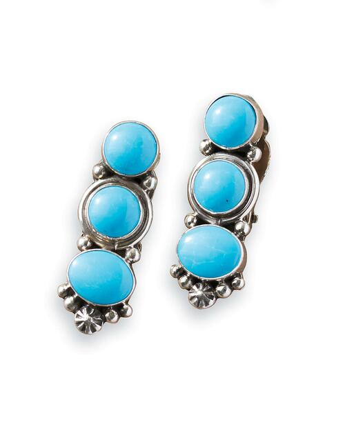 Navajo Triple-Stone Turquoise Earrings View Product Image