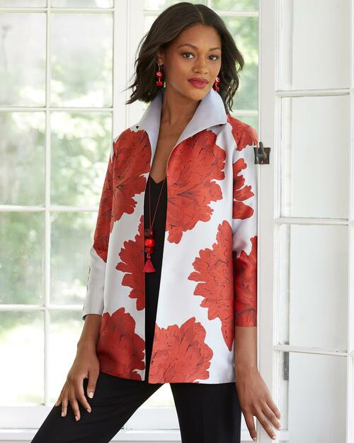Red Floral Mid-Length Swing Jacket View Product Image