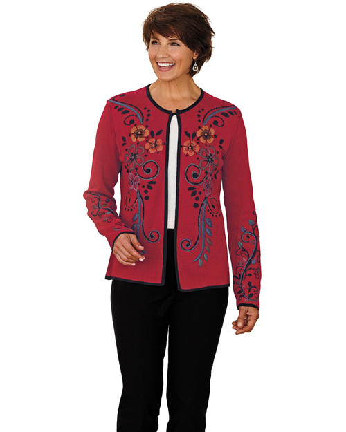 Smithsonian Reversible Flower-Embroidered Alpaca-Blend Cardigan View Product Image