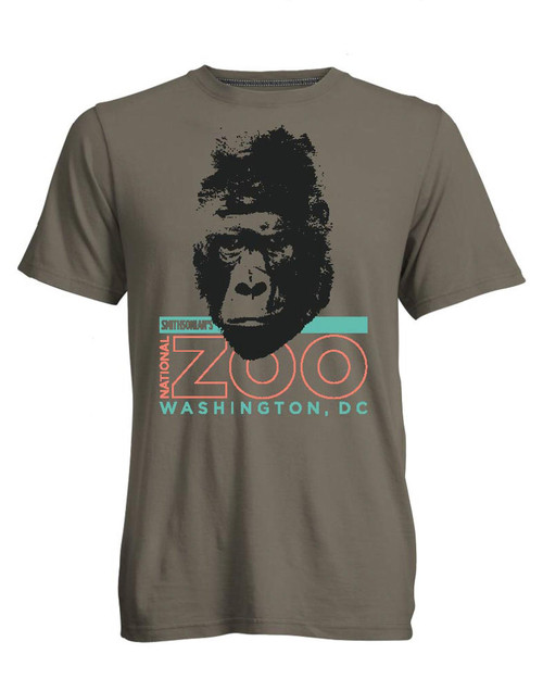 Smithsonian Gorilla Face Adult T-Shirt View Product Image