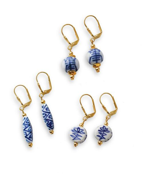 Blue and White Porcelain Drop Earrings View Product Image