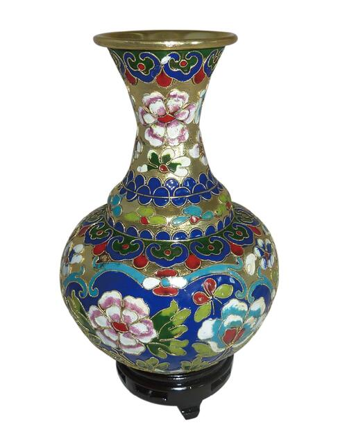 Smithsonian Floral Cloisonné Vase with Wooden Stand View Product Image