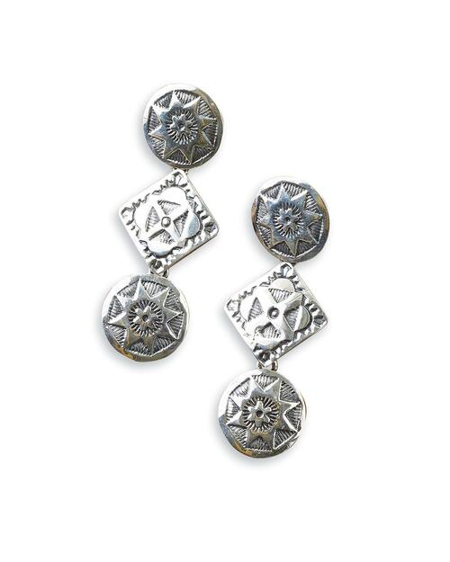 Navajo Stamped Sterling Silver Circle and Square Earrings View Product Image