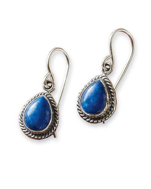 Navajo Lapis and Sterling Teardrop Earrings View Product Image
