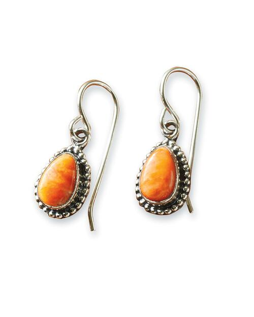 Navajo Spiny Oyster and Sterling Teardrop Earrings View Product Image