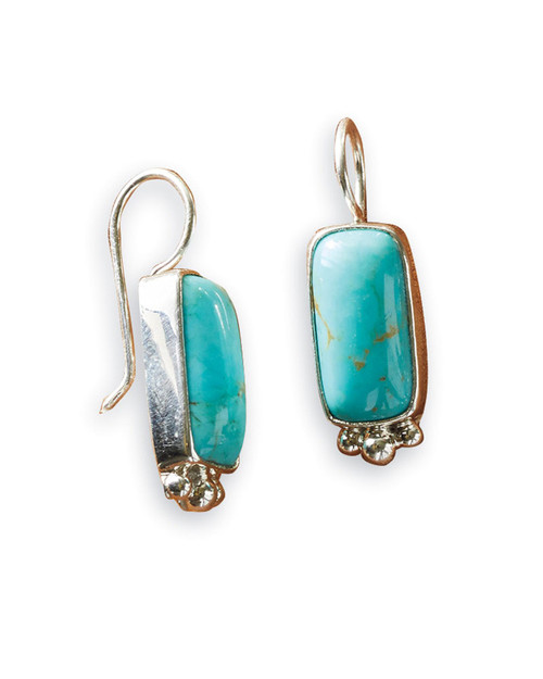 Navajo Turquoise Rectangle Earrings View Product Image
