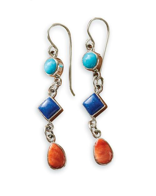 Navajo Turquoise, Lapis, and Spiny Oyster Drop Earrings View Product Image
