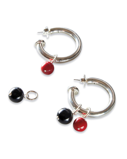 Sterling Hoop Earrings with Removable Drops View Product Image