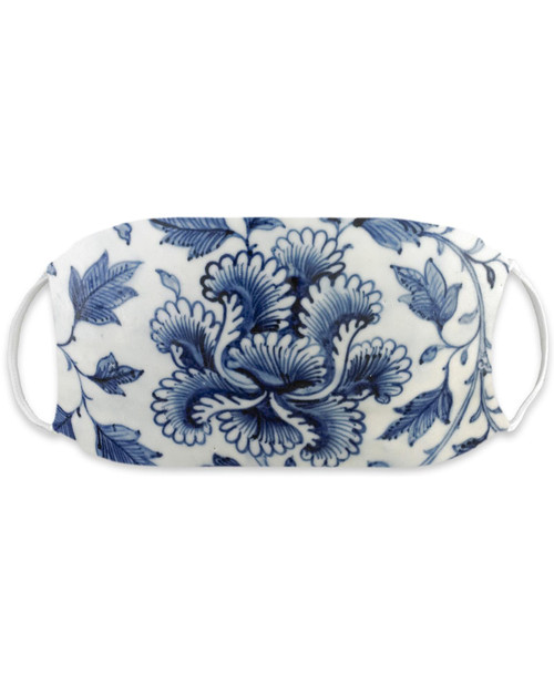 Blue and White Jar Motif Adult Mask View Product Image
