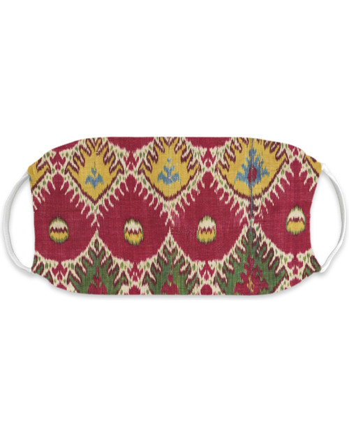 Ikat Green and Yellow Adult Mask View Product Image
