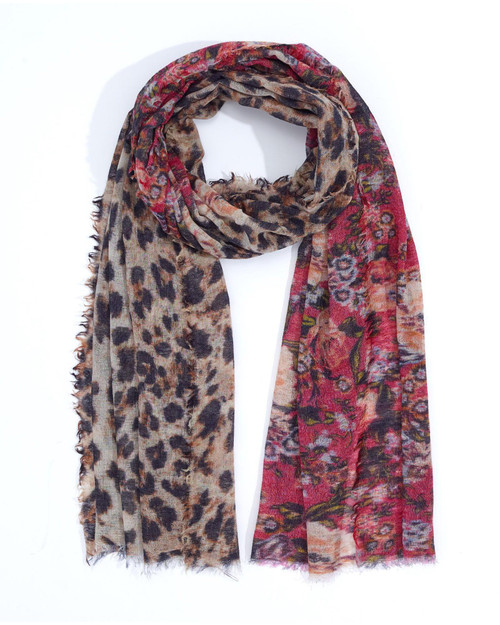 Crimson Floral and Animal Scarf View Product Image