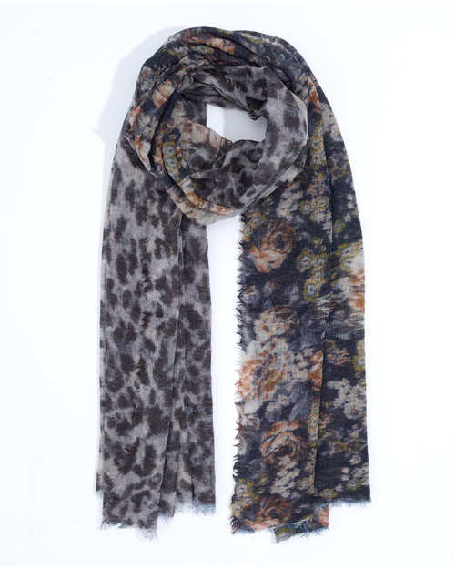 Black Floral and Animal Scarf View Product Image