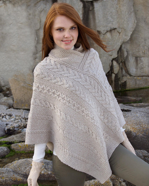 Wool Knit Poncho View Product Image