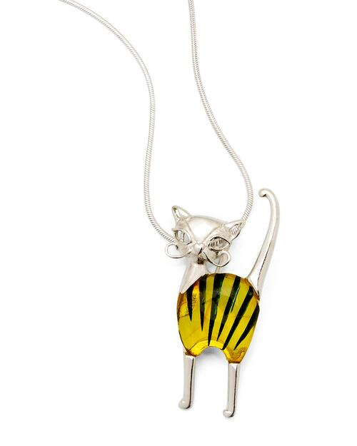 Baltic Amber Cat Pendant Necklace View Product Image