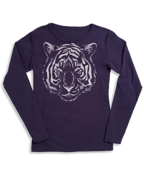 Women's Smithsonian National Zoo Long-Sleeve Purple Tiger Tee View Product Image