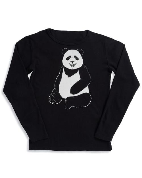 Women's Smithsonian National Zoo Long-Sleeve Black Panda Tee View Product Image