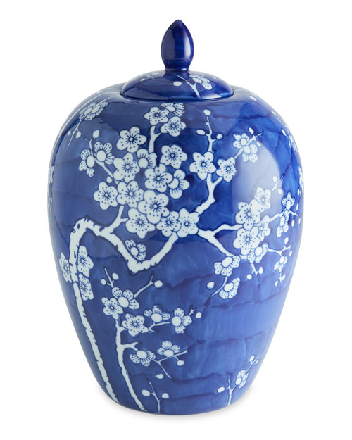 Hand-Painted Blue and White Cherry Blossom Jar View Product Image