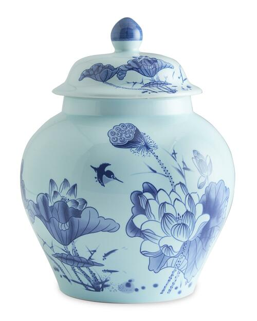 Hand-Painted Blue and Light Blue Moon in the Lotus Pond Jar View Product Image