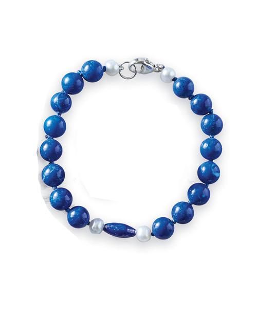 Classic Lapis and Pearl Bracelet View Product Image